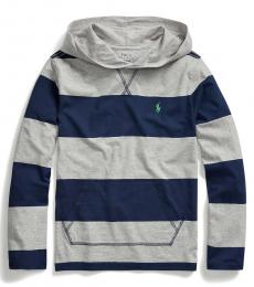 Boys Andover Heather Striped Hooded T-Shirt