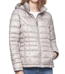 Calvin Klein Light Grey Packable Down Hooded Puffer Jacket