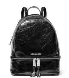 Michael Kors Black Crinkle Rhea Zip Medium Backpack
