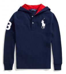 Boys French Navy Big Pony Hooded T-Shirt