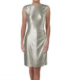 Ralph Lauren Gold Metallic Ruched Party Dress