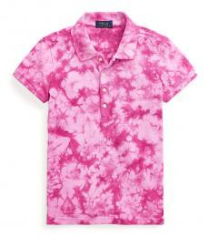 Ralph Lauren Girls College Pink Tie-Dye Mesh Polo