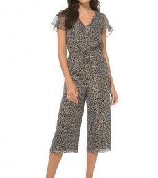 Michael Kors Caramel Leopard-Print Jumpsuit