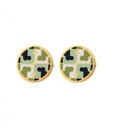 Tory Burch Multi-Color Emerald Stud Earrings