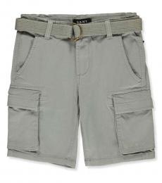 DKNY Boys Grey Belted Twill Cargo Shorts