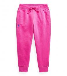 Ralph Lauren Little Girls Accent Pink Fleece Joggers