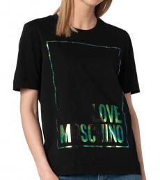 Love Moschino Black Round Neck Logo Top