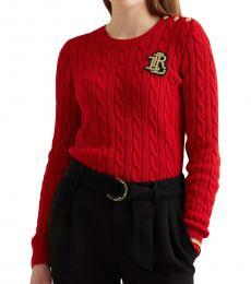 Ralph Lauren Lipstick Red Button-Trim Cable-Knit Sweater