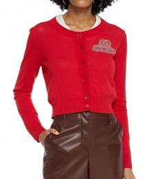 Love Moschino Tomato Red Cropped Crystal-Embellished Cardigan