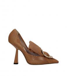 Jimmy Choo Brown Perforated Leather Heels