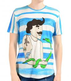 Dolce & Gabbana Blue Graphic Short Sleeve Tee
