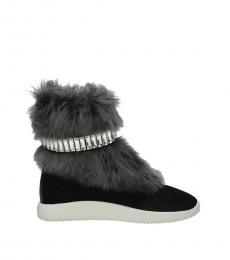 Black Fur Detail Ankle Boots