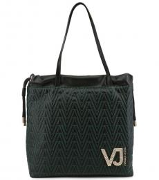 Versace Jeans Black Stitching Large Tote