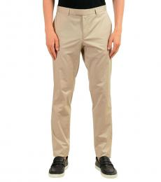 Beige Stretch Casual Pants