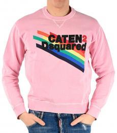 Dsquared2 Light Pink Printed Dan Fit Sweatshirt