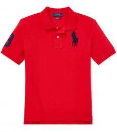 Boys Red Mesh Polo