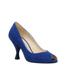 Prada Blue Peep Toe Suede Heels