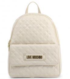 Love Moschino White Quilted Large Backpack