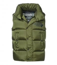 Dsquared2 Olive Sleeveless Logo Jacket