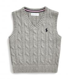 Ralph Lauren Baby Boys Grey Cable-Knit Sweater Vest