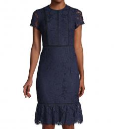 Karl Lagerfeld Navy Blue Lace Sheath Dress
