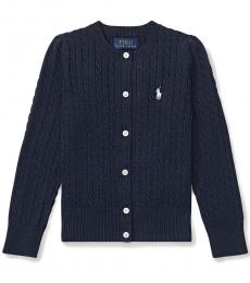 Ralph Lauren Little Girls Hunter Navy Mini-Cable Cardigan