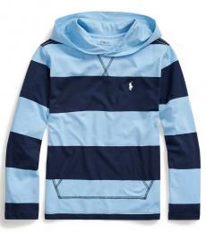 Ralph Lauren Boys Blue Lagoon Striped Hooded T-Shirt