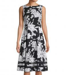 Black White Floral-Print A-Line Dress