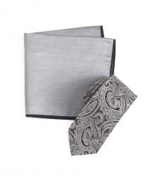 Ted Baker Grey Paisley Tie & Pocket Square Set