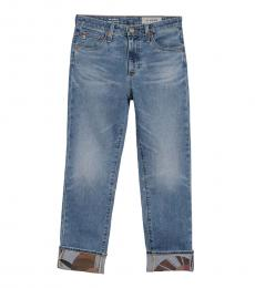 AG Adriano Goldschmied Denim Isabelle Cropped Printed Hem Jeans