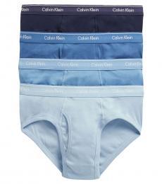 Calvin Klein Blue 4-Pack Low-Rise Hip Briefs