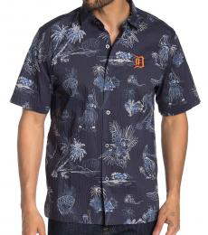 Navy Blue-Tropical Print Regular Fit Shirt