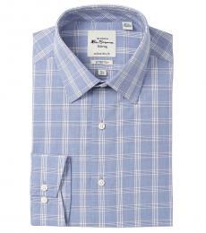 Ben Sherman Blue Tailored Slim Fit Stretch Dress Shirt