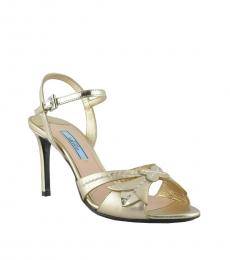 Prada Gold Ankle Strap Heels