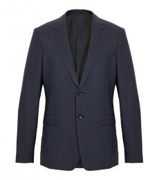 Navy Blue Chambers Slim Fit Blazer