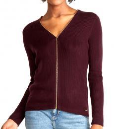 Calvin Klein Aubergine Ribbed Zip Sweater
