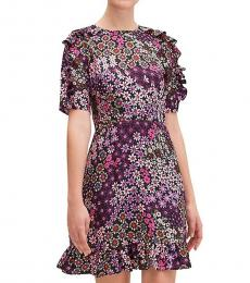 Kate Spade Black Pacific Petals Mini Dress