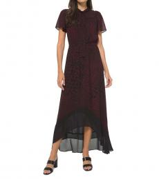 Michael Kors Dark Ruby Printed Tie-Neck Maxi Dress