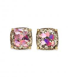Kate Spade Gold Glitter Heart Sequins Stud Earrings