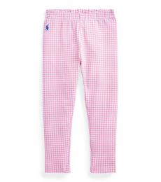 Ralph Lauren Little Girls Pink Gingham Stretch Leggings