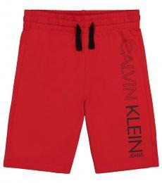Calvin Klein Boys Racing Red Basic Logo Fleece Shorts