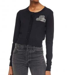 Love Moschino Black Cropped Crystal-Embellished Cardigan