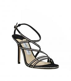 Jimmy Choo Black Rhinestone Embellished Heels