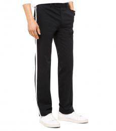 Black Contrast Stripe Twill Trousers
