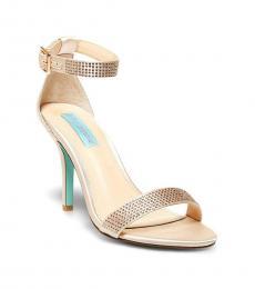 Betsey Johnson Blush Satin Shilo Studded Heels