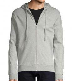 Grey Zip-Front Cotton Hoodie