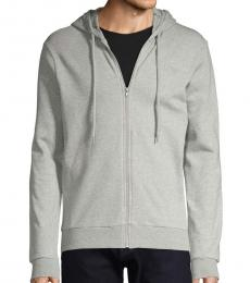 Armani Jeans Grey Zip-Front Cotton Hoodie