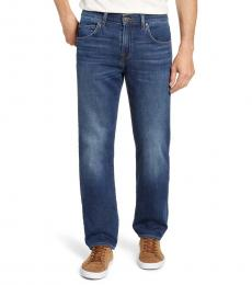 Blue Straight Slim Straight Leg Jeans