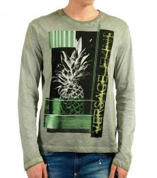 Versace Jeans Faded Gray Graphic Long Sleeve T-Shirt