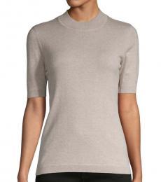 Diane Von Furstenberg Light Grey Crewneck Cashmere-Blend Top